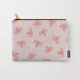 Crazy Happy Uterus in Pink, Large Carry-All Pouch