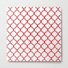 Moroccan Trellis (Red & White Pattern) Metal Print
