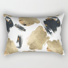 Artistic watercolor black orange gold brushstrokes Rectangular Pillow