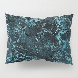 Black & Teal Color Marble Pillow Sham