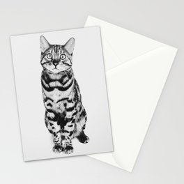 Fine-art portrait of a bengal cat in black and white | Animal photography Stationery Cards