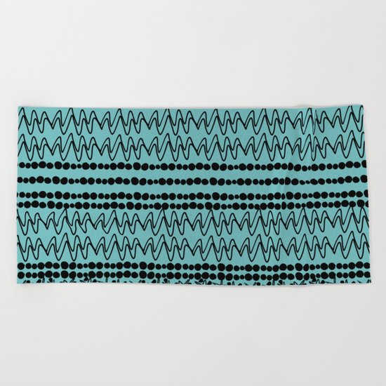 squiggle lines 2 Beach Towel