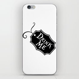"""Drink Me"" Alice in Wonderland styled Bottle Tag Design in Black & White iPhone Skin"