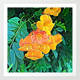 Orange Flowers of Flowing Circuitry Art Print