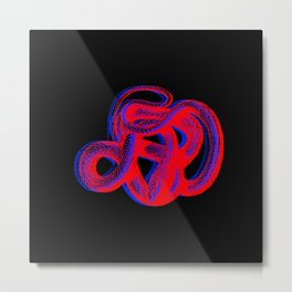 Snek 2 Snake Red Blue Metal Print