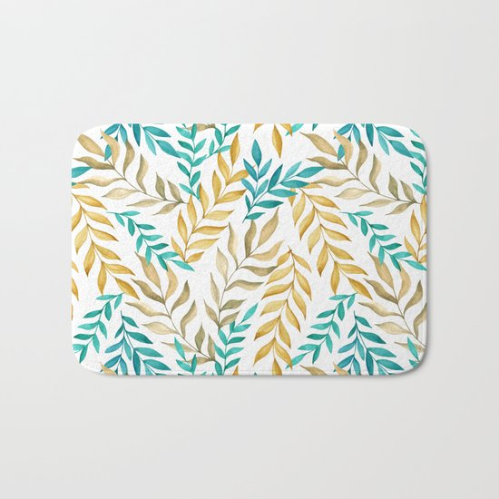Tropical leaves (yellow and blue). Watercolor Bath Mat