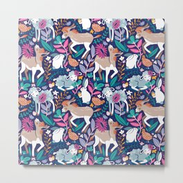 Spring Joy // navy blue background pale blue lambs and brown taupe donkeys blue mint and pink garden Metal Print