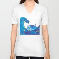 hokusai V-neck T-shirts featuring Hokusai Rainbow & Globefish  by FACTORIE
