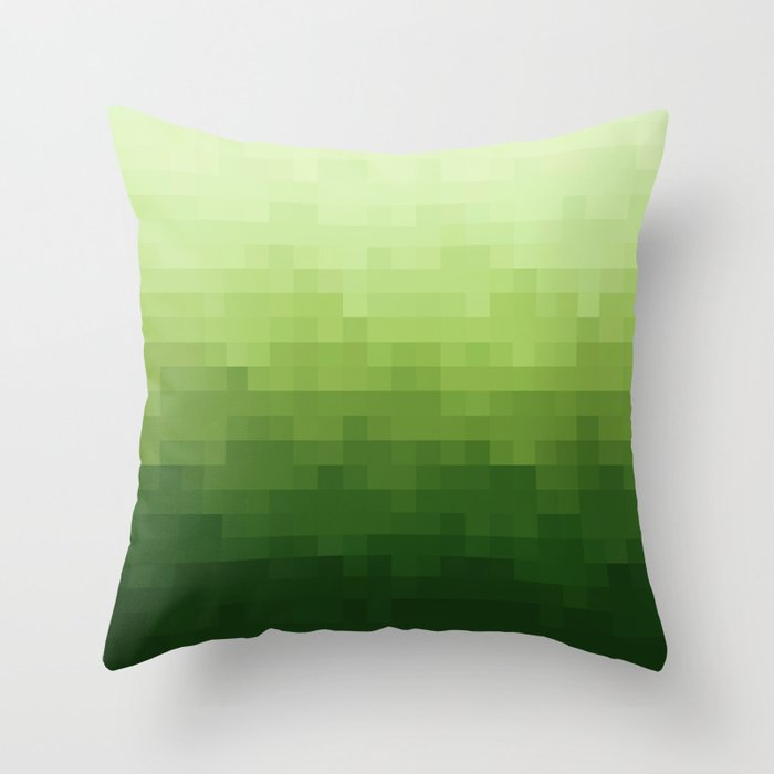 Gradient Pixel Green Throw Pillow