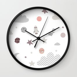 space galaxy clouds Wall Clock