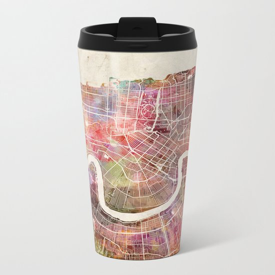 New Orleans map Metal Travel Mug