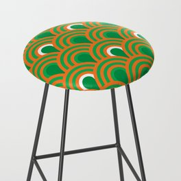 retro sixties inspired fan pattern in green and orange Bar Stool