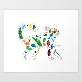 Whimsical Leafly Cat Art Print