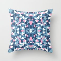 Abstract Collide Blue and Pink Throw Pillow