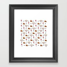pizza dot weed dot burger dot Framed Art Print