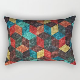 Colorful Isometric Cubes Rectangular Pillow