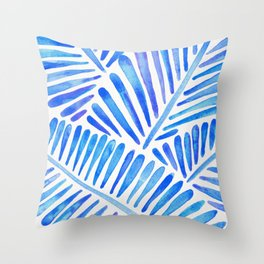 Tropical Banana Leaves – Blue Palette Throw Pillow