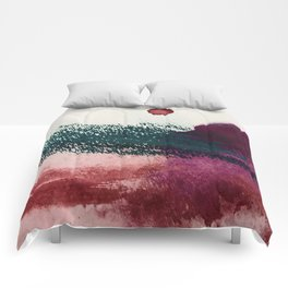 Gelato: a bold, abstract mixed media piece in pinks, purple, and teal Comforters
