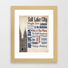 Travel - Salt Lake City Framed Art Print