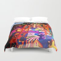 cityscape Duvet Covers featuring cityscape by embee studio