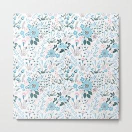 Star Sapphire Floral Celebration Blue Metal Print