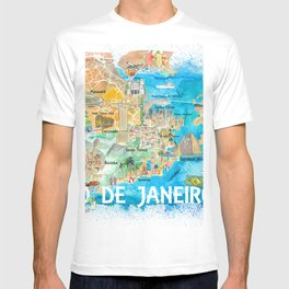 Rio de Janeiro Illustrated Map with Main Roads Landmarks and Highlights T-shirt