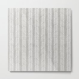 Mud cloth - Grey Arrowheads Metal Print