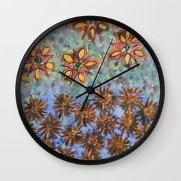 Asters and Paradise Flowers Wall Clock