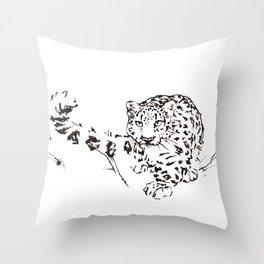 Ink Snow Leopard Throw Pillow