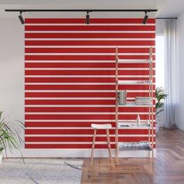 Red and White Horizontal Stripes Pattern Wall Mural