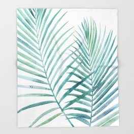 Twin Palm Fronds - Teal Throw Blanket