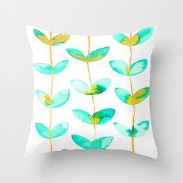 corazones enlazados blue Throw Pillow