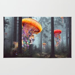 ElectricJellyfish Worlds in a Forest Rug