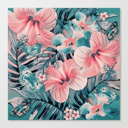 Vintage Jade Coral Aloha Canvas Print
