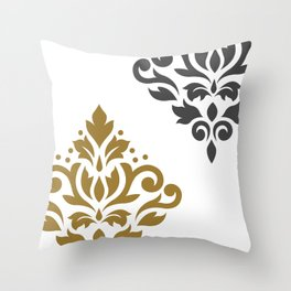 Scroll Damask Art I Gold & Grey on White Throw Pillow