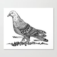 pigeon Canvas Prints featuring Pigeon by Christina Grace Vergona