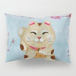 Watercolor Maneki-neko cat under flowering sakura Pillow Sham