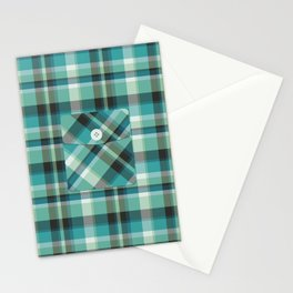 Plaid Pocket - Teal Blue/Green Stationery Cards