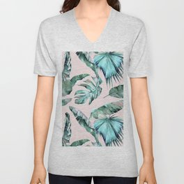 Tropical Palm Leaves Turquoise Green Coral Pink Unisex V-Neck