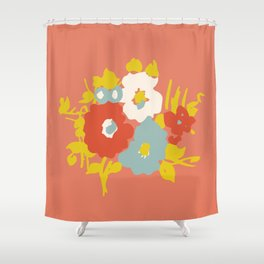 Coral Flora Shower Curtain