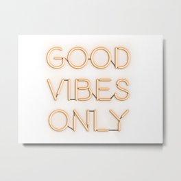 Neon Good Vibes - Orange Metal Print