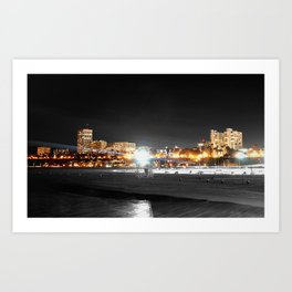 night time santa monica  Art Print