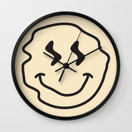 Wonky Smiley Face - Black and Cream Wall Clock