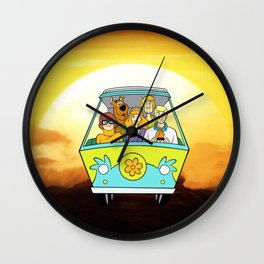 dog scooby sunset Wall Clock