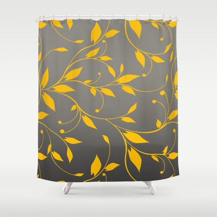 FLOWERY VINES | grey yellow Shower Curtain by cheryldaniels | Society6