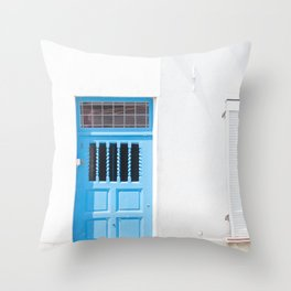 Belgian Blue Door Throw Pillow