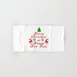 Merry Christmas and Hapy New Year Hand & Bath Towel