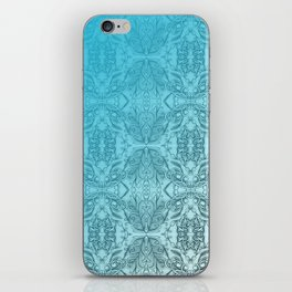 Blue Gradient Floral Doodle Pattern iPhone Skin