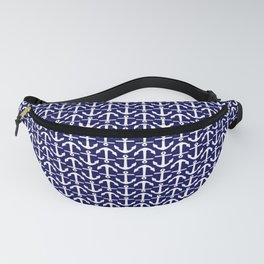 Maritime Nautical Blue and White Small Anchor Pattern Fanny Pack
