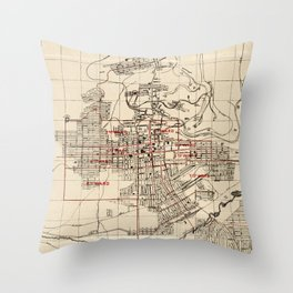 Vintage Map of Butte Montana (1909) Throw Pillow